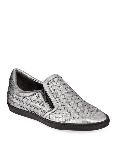 Falcon Woven Metallic Leather Sneakers  Gray