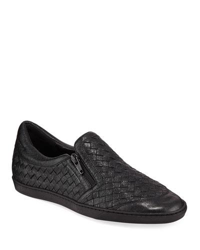 Falcon Woven Metallic Leather Sneakers  Black
