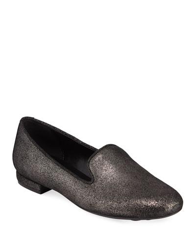 Kama Flat Metallic Fabric Loafers