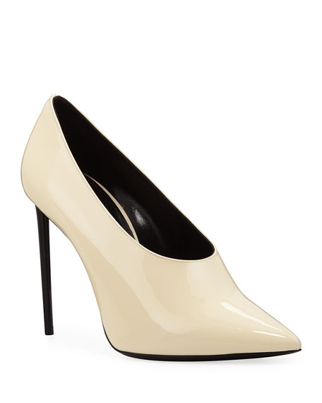 Teddy High-Vamp Patent Leather Pumps, White