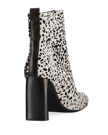 Ellis Cheetah-Flocked Suede Booties