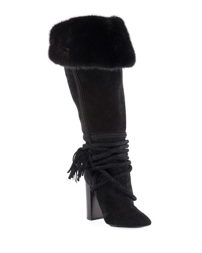 Meurice Suede Knee Boots with Fur Collar