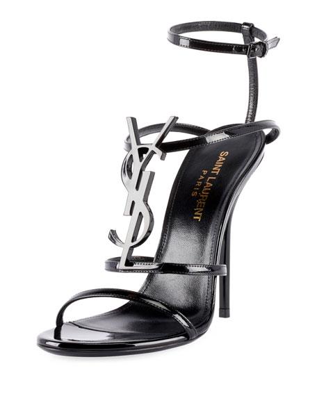 Saint Laurent Opyum Cassandre YSL Monogram Patent Sandals