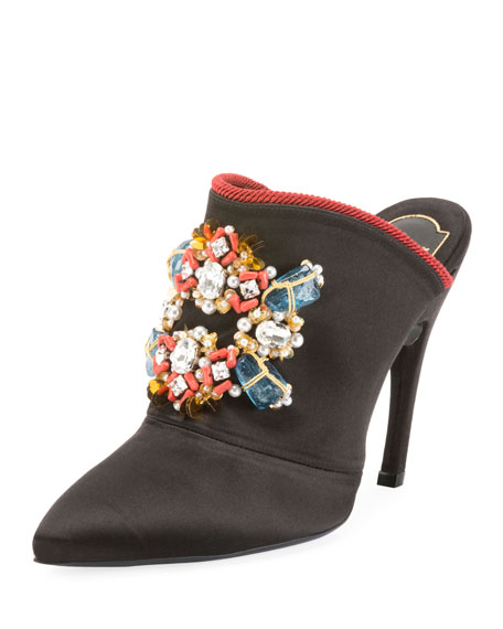 Roger Vivier Choc Jeweled Satin Mule