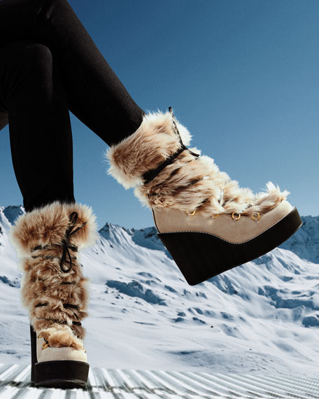 Image 2 of 4: Nikita Mid-Calf Fur Wedge Boots