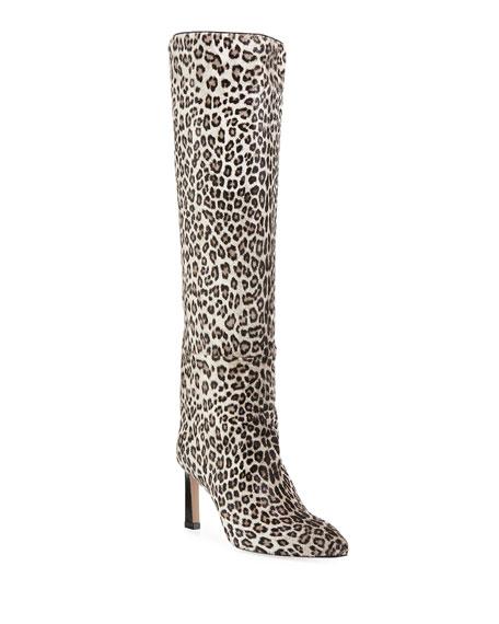Stuart Weitzman Emiline 75 Leopard-Spotted Knee Boots