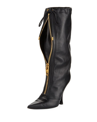 Zip-Front 105mm Drawstring Boots