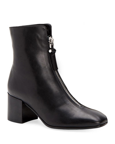 Camden Leather Front-Zip Booties