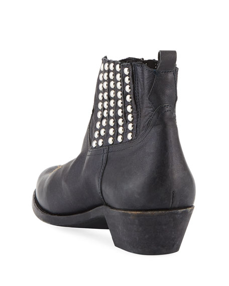 Crosby Short Studded Leather Cowboy Boot