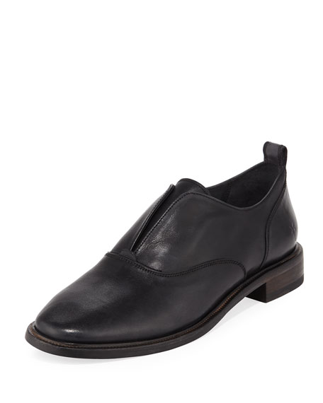 Kelly Open Leather Oxfords, Black in Black Leather