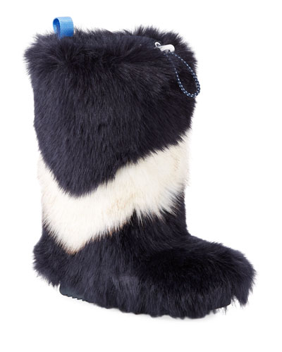 Chevron Faux-Fur Tall Boots