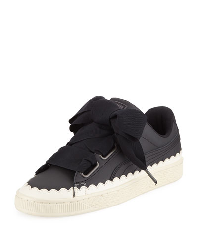 Basket Heart Scallop Ribbon-Lace Leather Low-Top Sneakers