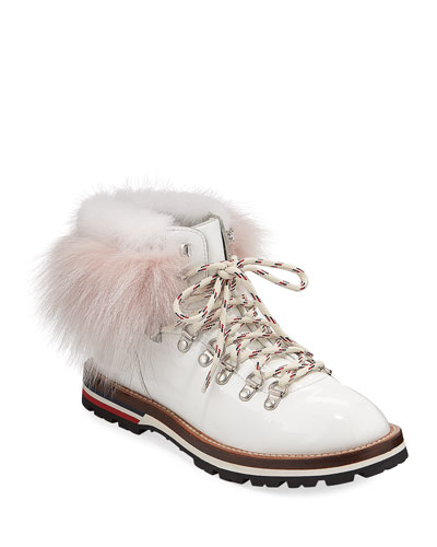 Fur-Trim Patent Leather Hiker Boots