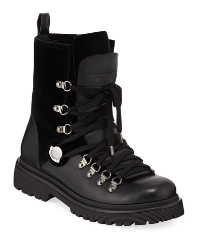 Berenice Leather and Velvet Hiker Boots