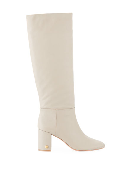 Brooke Slouchy Leather Block-Heel Knee Boots