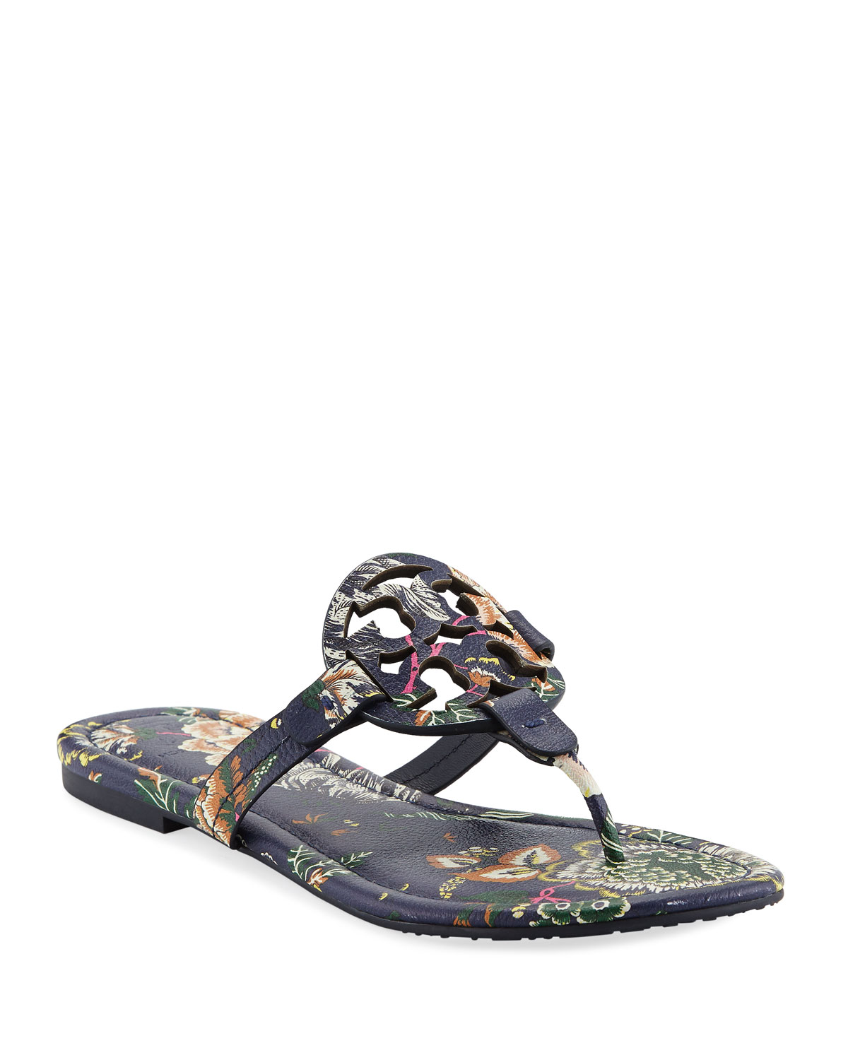 5906cecd4 Tory Burch Miller Medallion Floral-Print Leather Flat Thong Sandals ...