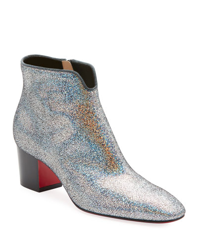 5a11daaa7adf Christian Louboutin Disco 70s Low-Heel Glitter Red Sole Booties from ...