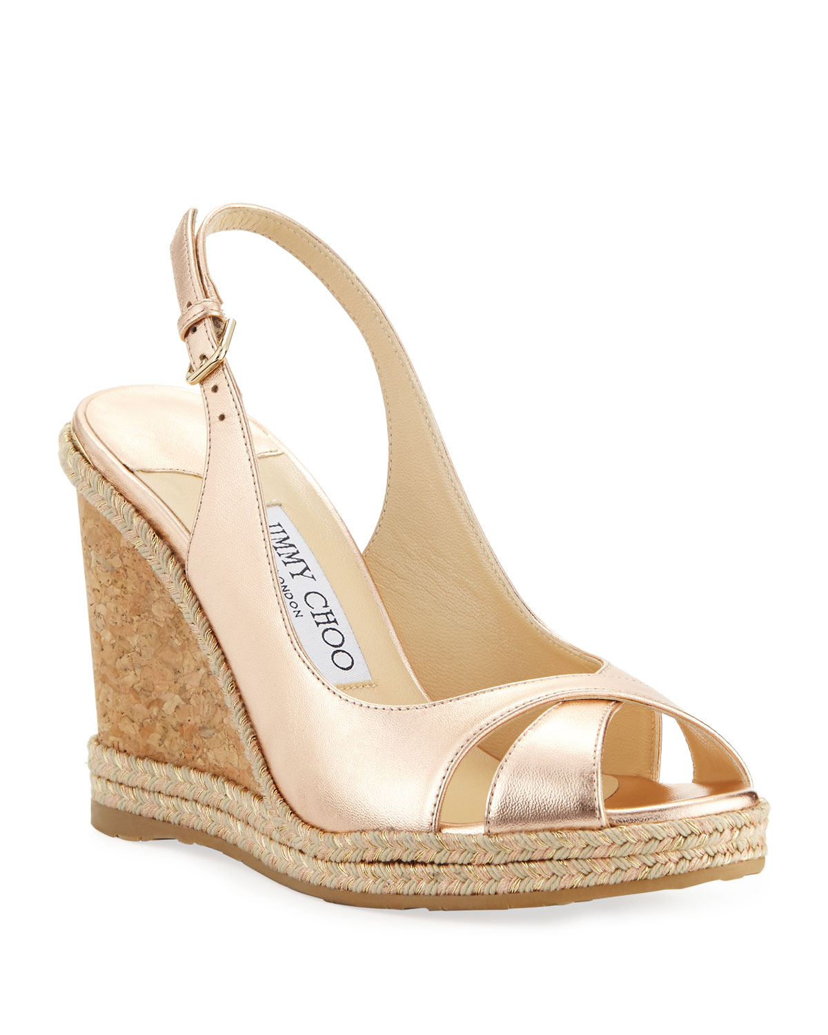 1df6791c62f7 Jimmy Choo Amely 105mm Metallic Leather Cork Wedge Sandals