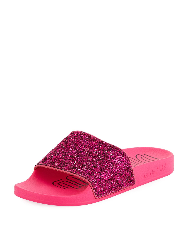3be67ea45 Adidas Adilette Glitter Vinyl Pool Slide Sandals
