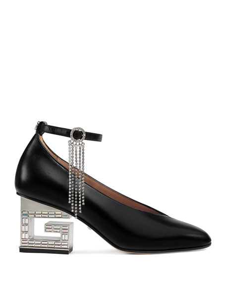 Gucci Amber Leather G-Heel Ankle-Wrap Pumps