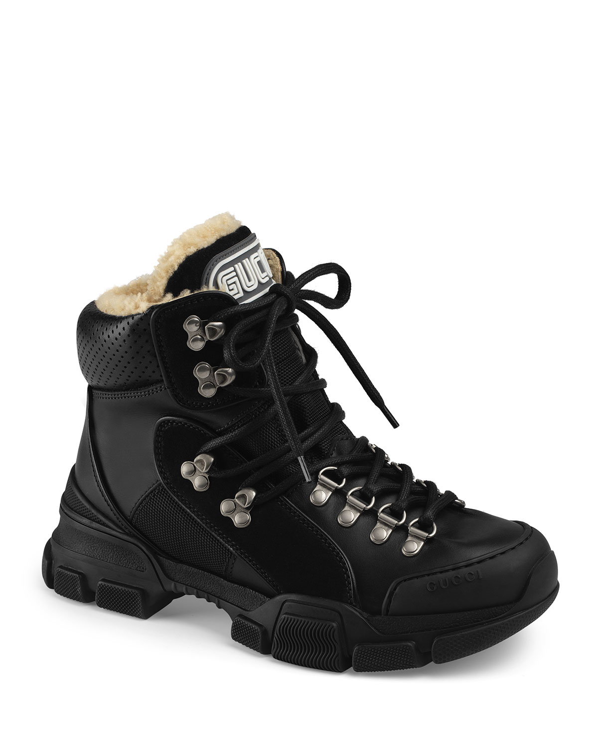 7478ce42f06 Gucci Flashtrek Shearling-Lined Hiker Boots