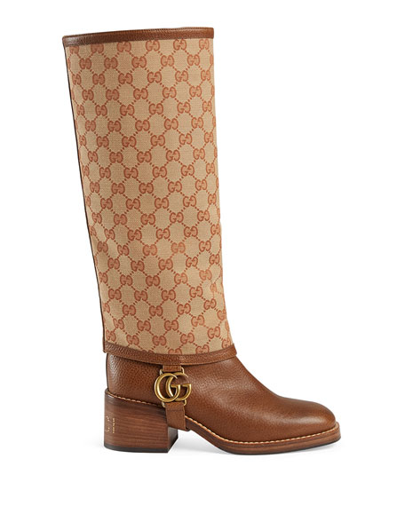 Gucci Lola GG Canvas and Leather Riding Boots