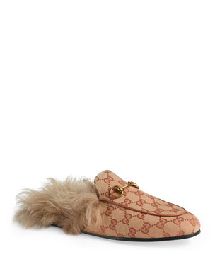 557cf59ae8e4 Gucci Princetown Fur-Lined GG Mule Loafers