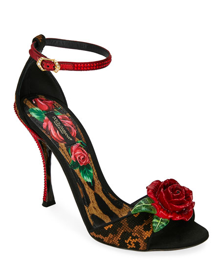 Dolce & Gabbana Leopard and Rose Sandals