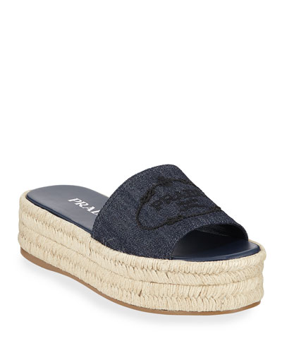 Denim Logo Espadrille Slide Sandals