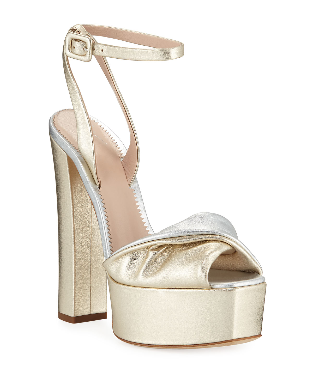 abf124dc96f6 Giuseppe Zanotti Metallic Leather Platform Sandals