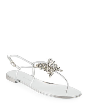 989d343ce98dd9 Giuseppe Zanotti Flat Metallic Leather Thong Sandals with Butterfly