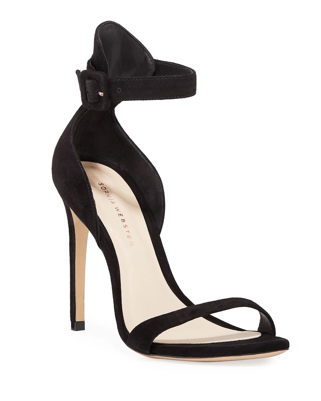 319478bc35f Sophia Webster Nicole Naked High-Heel Suede Ankle-Wrap Sandals ...