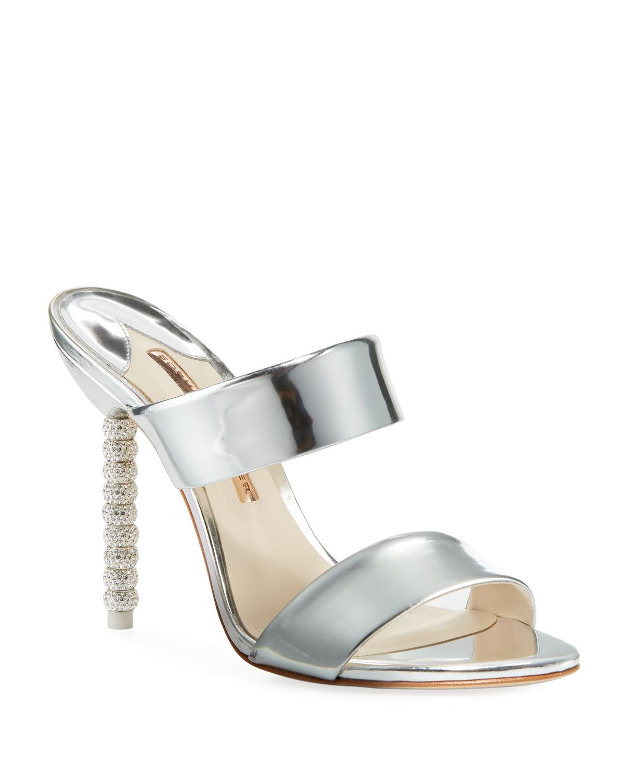 3256858e3175 Sophia Webster Rosalind Metallic Leather Crystal-Heel Slide Sandals ...