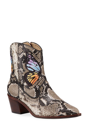 Sophia Webster Shelby Snake-Printed Cowboy Boots with Butterfly