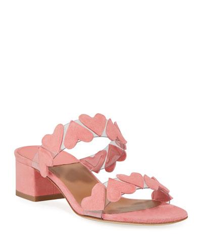 Taja Heart Suede Slide Sandals