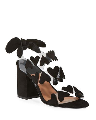 Tamara Heart Strappy Suede Sandals