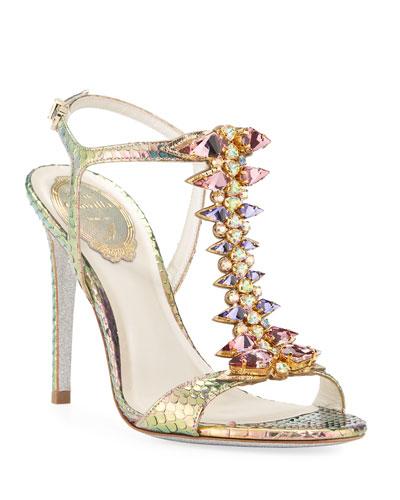 Jeweled Python T-Strap Sandals