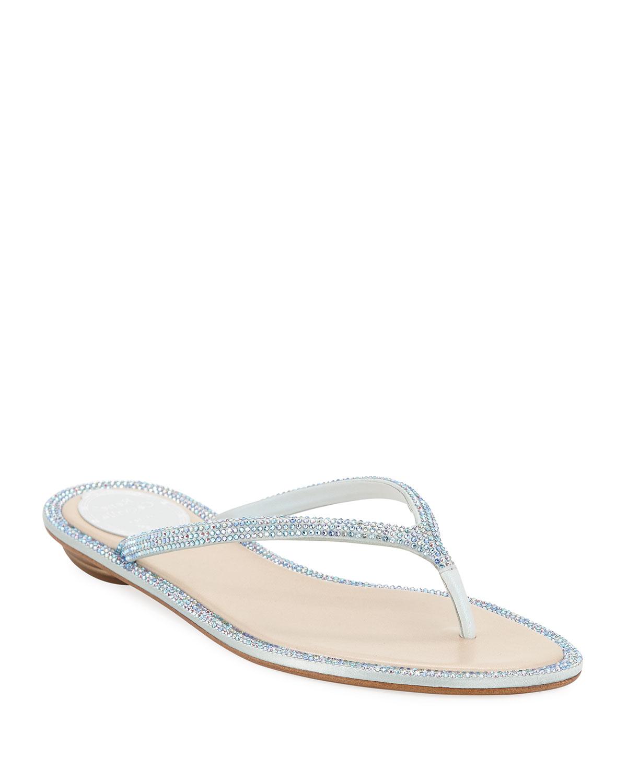 8491ffa0b84e Rene Caovilla Flat Crystal Thong Sandals