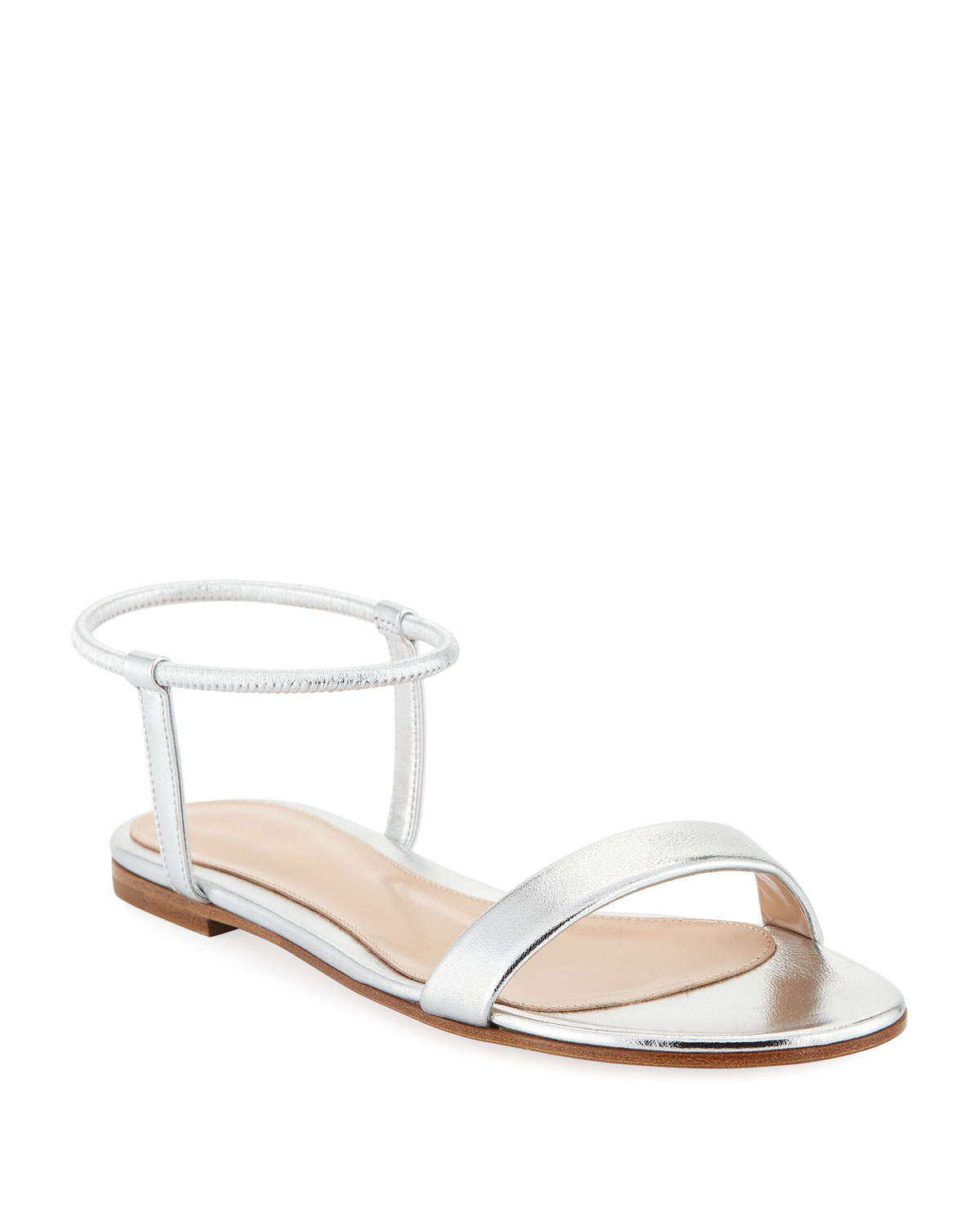 9c6a8038c93 Gianvito Rossi Flat Metallic Leather Ankle-Wrap Sandals