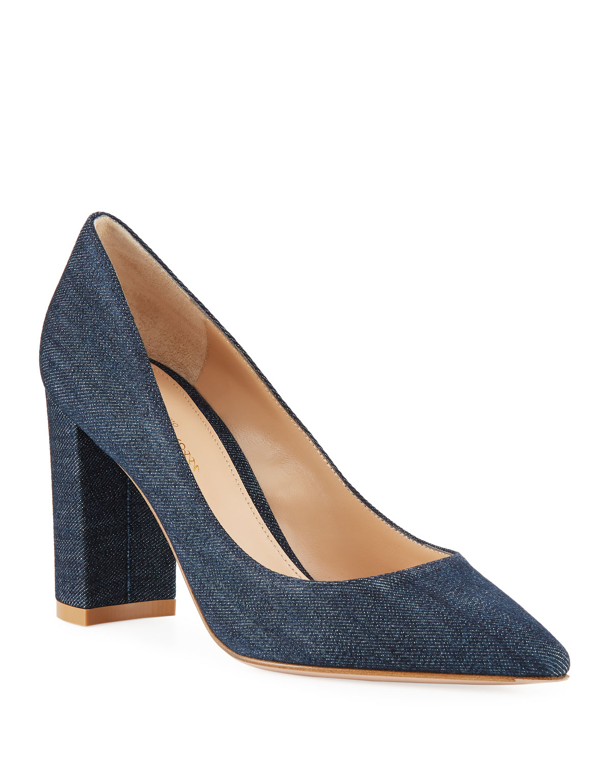 b3c0ebe49ae4 Gianvito Rossi Denim Pointed-Toe Pumps with Chunky Heel