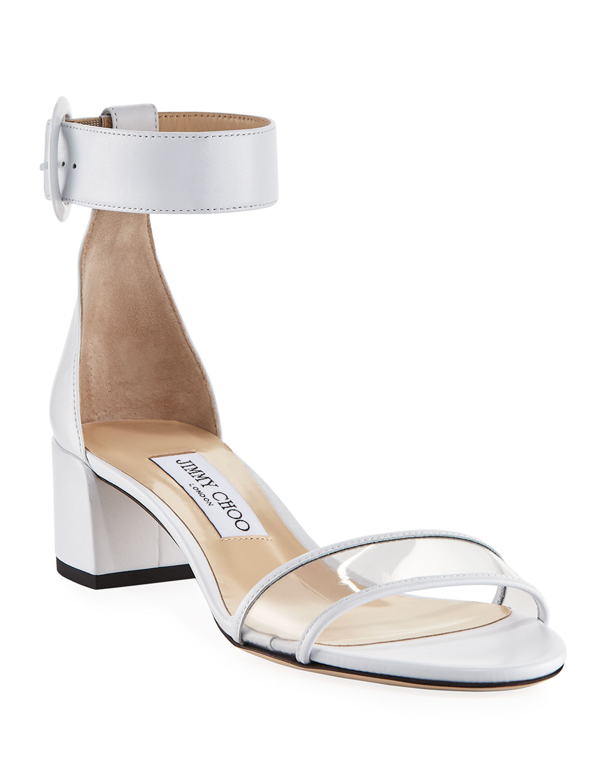 0a79c8b911a Jimmy Choo Jaimie Leather and PVC Block-Heel Sandals