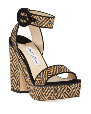 newest aebc1 34758 Jimmy Choo Aimee Raffia Platform Sandals