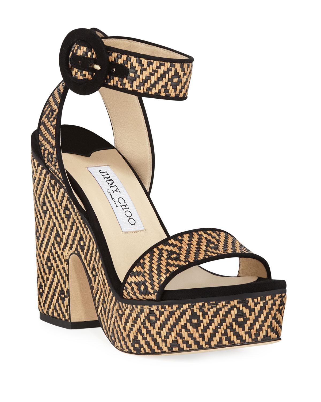 8a0984f5587 Jimmy Choo Aimee Raffia Platform Sandals