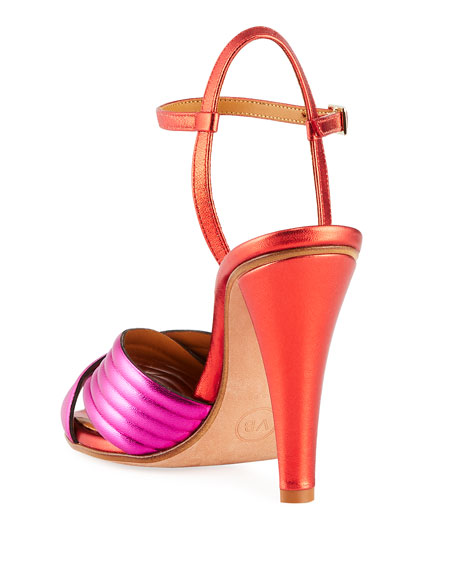 Olympia Metallic Leather Ankle-Wrap Sandals
