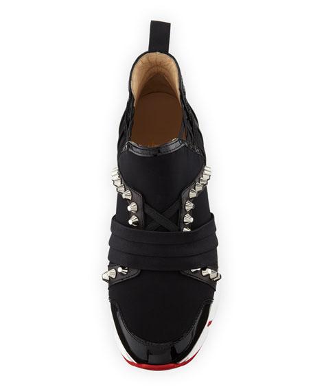 f9426bb8b99e Christian Louboutin 123 Run Paneled Embellished Neoprene Sneakers In Black