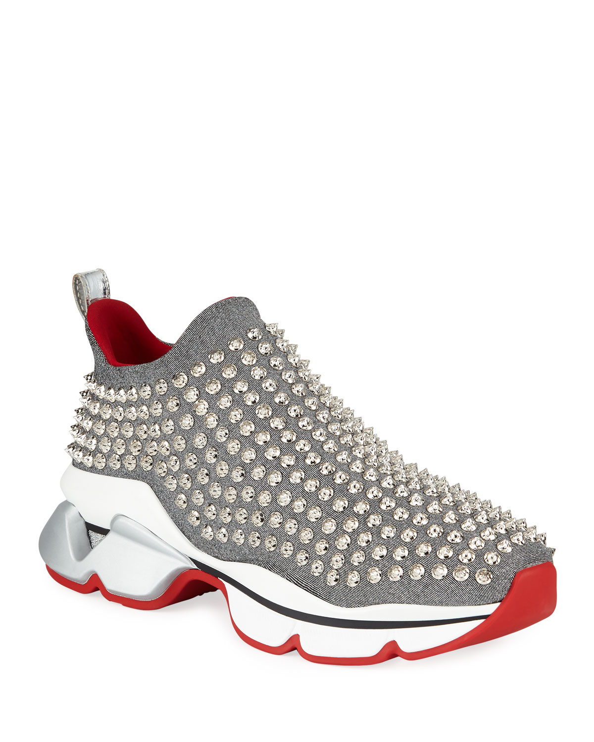 a8683e38e11c Christian Louboutin Spiky Sock Donna Flat Red Sole Sneakers