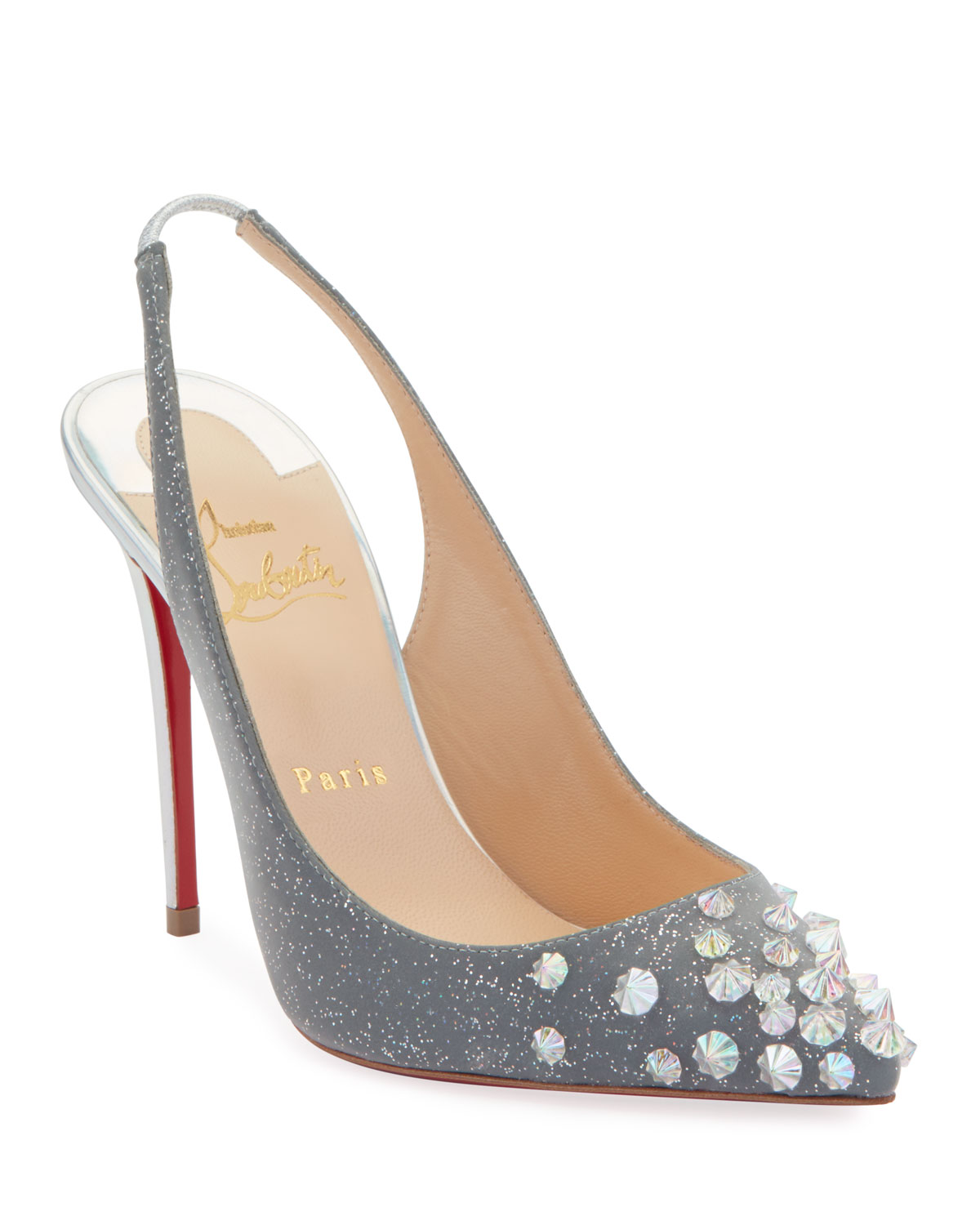 d26bad55a06 Christian LouboutinDrama Sling 100mm Spike Specchio Laser Red Sole Pumps