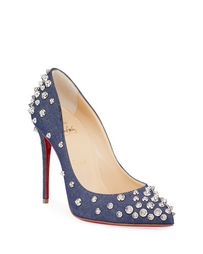Aimantaclou Studded Denim Red Sole Pumps