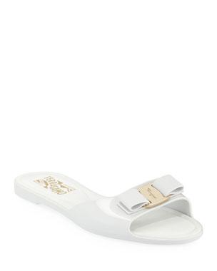 3e38d122016 Salvatore Ferragamo Cirella Flat PVC Jelly Bow Slide Sandals