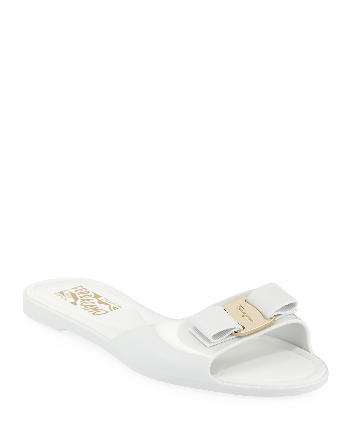 7040c075c3b Salvatore Ferragamo Cirella Flat PVC Jelly Bow Slide Sandals
